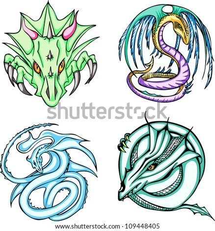 Round dragon designs. Set of color vector illustrations. - stock vector