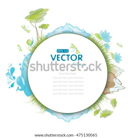 Round earth background with blue whale, trees, mountain and glacier, vector illustration, eps-10
