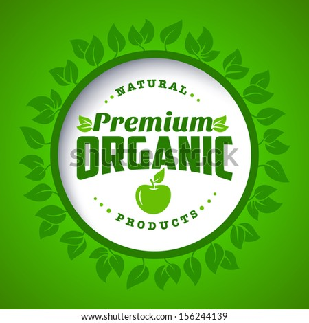 Round eco green stamp label of healthy organic natural farm fresh food  - stock vector