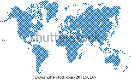 Round edge blue square world map on white background, vector illustration. - stock vector