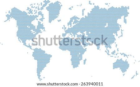 Round edge triangular world map, vector illustration eps 10. - stock vector
