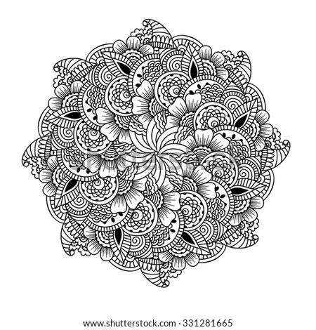 Round element for coloring book. Black and white ethnic henna pattern. Floral mandala.Black and white pattern. Ethnic henna hand drawn background for coloring book, textile or wrapping.