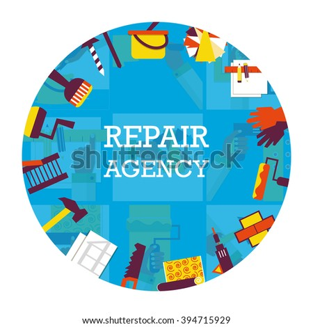 Round emblem of repair agency. Home remodeling.  - stock vector