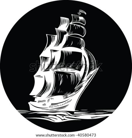 round emblem of sail ship - stock vector