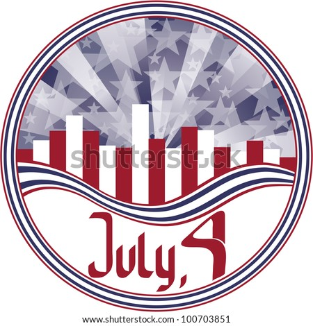 round emblem with calligraphy Fourth of July. No fonts were used. - stock vector