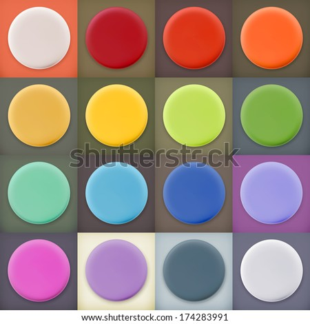Round empty blanks web icons and buttons with drop shadow on color backgrounds