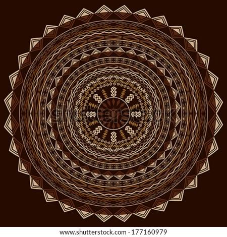 Round ethnic ornament in cappuccino tones - stock vector