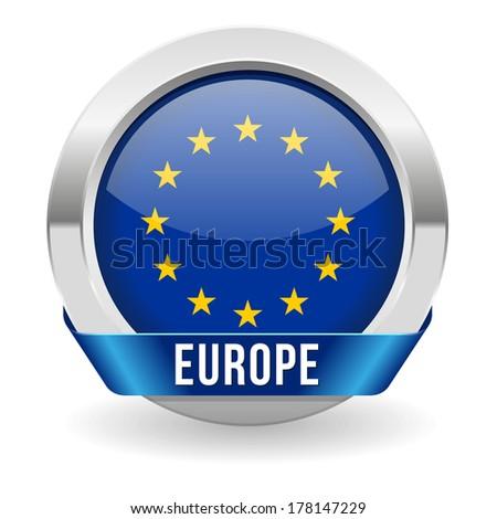 Round europebutton with ribbon and metallic border - stock vector