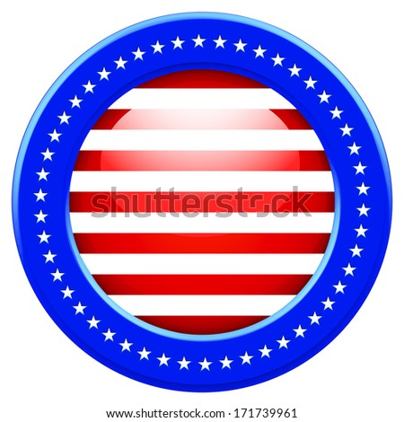 Round Flag of the United States of America - stock vector
