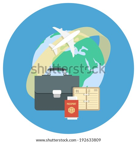 Round flat conceptual illustration of international business travel by airplane - stock vector