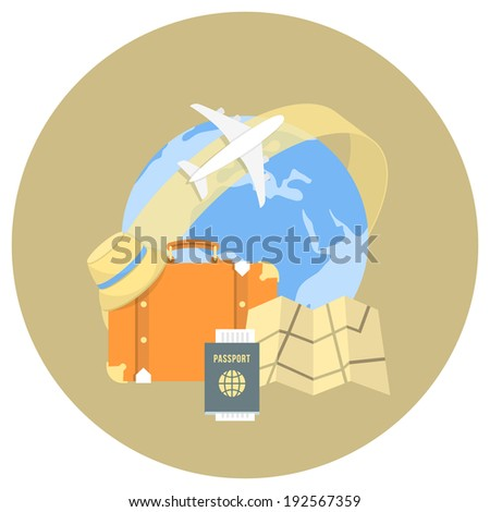 Round flat conceptual illustration of international travel by airplane - stock vector