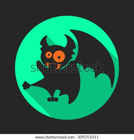 Round flat vector icon with black silhouette of vampire bat for Halloween.