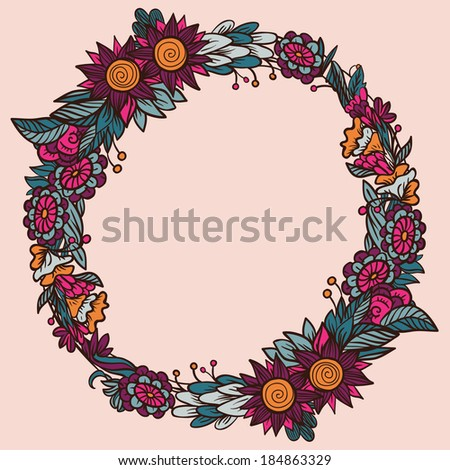 Round floral frame - stock vector