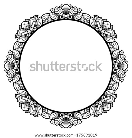 round floral frame for greeting card with hand drawn flowers of dahlia vector illustration