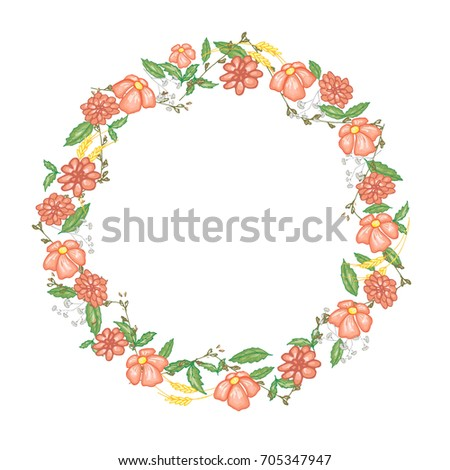 Round Floral Frame Vector Stock 2018 705347947