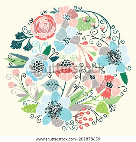 Round floral pattern. Vector background - stock vector