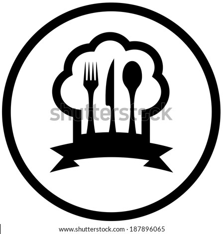 round food icon with chef hat and kitchen utensil silhouette