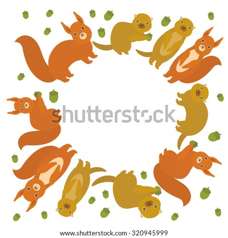 round frame for your text Set of funny red squirrels with Gopher ground squirrel fluffy tail with acorn isolated on white background. Vector - stock vector