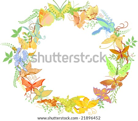 Round frame from butterflies and plants - stock vector