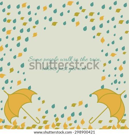 Round frame illustration with umbrella under rain and leaf. Hand drawn autumn design. - stock vector