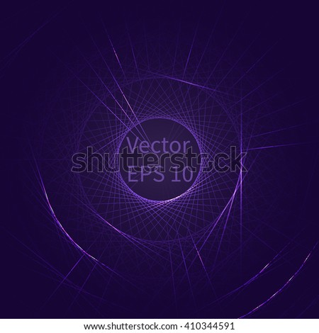 Round frame, line with a shiny effect. Shining circle banner. Space for your message. Vector illustration. Lines in a circle with flashes of light. - stock vector