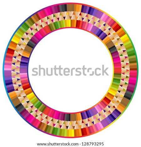 Round frame made from color pencils - stock vector