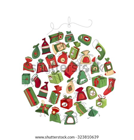 Round frame made of gift boxes isolated on white. For your Christmas design,posters, greeting cards, invitations. - stock vector