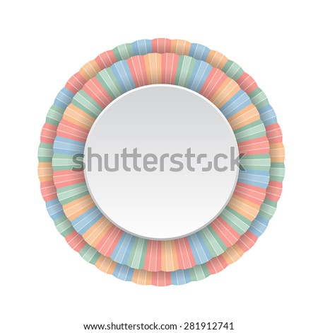 Round frame of color pencils. Vector illustration. - stock vector