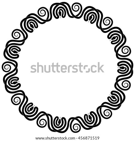 Round frame of eleven snakes entwined and interlaced. Vector black and white ornament.
