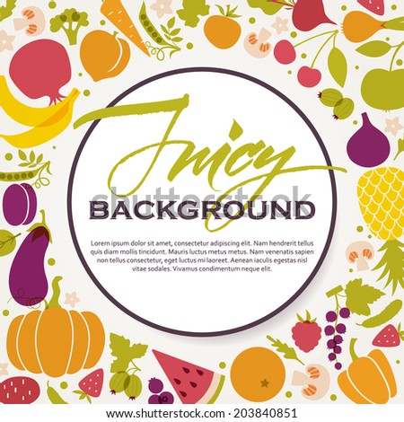 Round frame of fresh juicy fruits and vegetables. Healthy diet, vegetarian and vegan cuisine - stock vector
