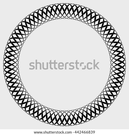 Round frame of plait with interwoven lines of variable thickness. Vector black and white ornament around copy space.
