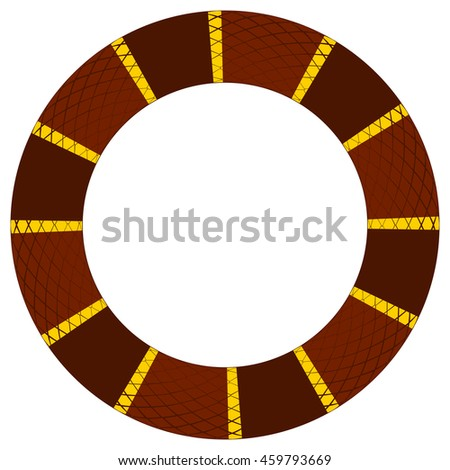 Round frame of reptile skin border based on color pattern of a brown and yellow king snake.