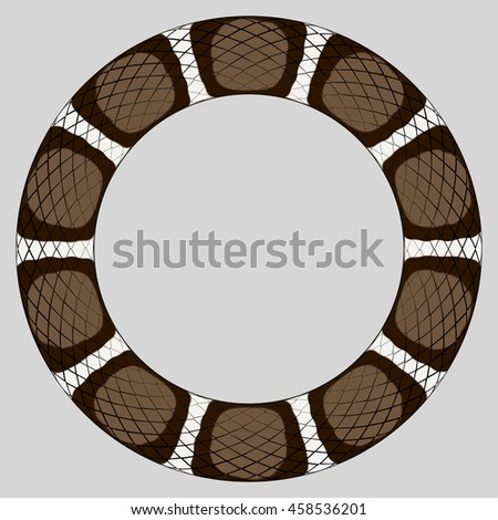 Round frame of reptile skin border based on color pattern of a brown king snake.
