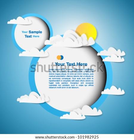 Round frame - paper cut design - stock vector