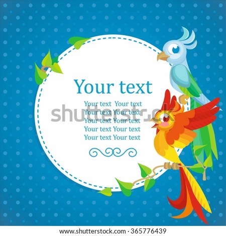 Round frame with cartoon parrots - stock vector