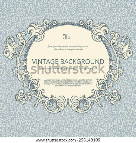Round frame with detailed flourish elements on blue vintage pattern - stock vector