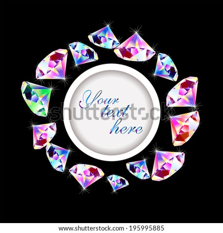 Round frame with diamonds. Vector  - stock vector