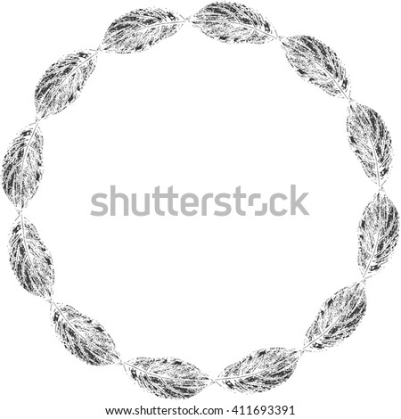 Round frame with leaves imprints for your text. Vintage floral frame. Nature circle frame. Round floral frame for your design. Nature design element. Leaves design frame. Vector nature illustration. - stock vector