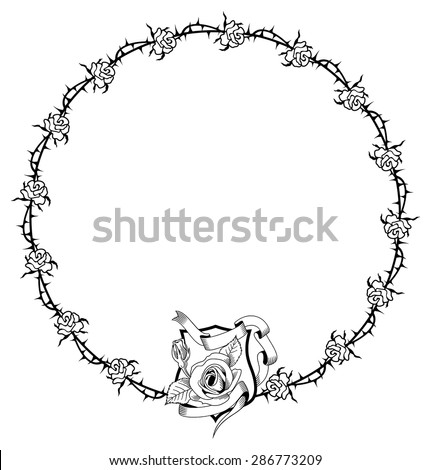 Round frame with roses and thorns - stock vector