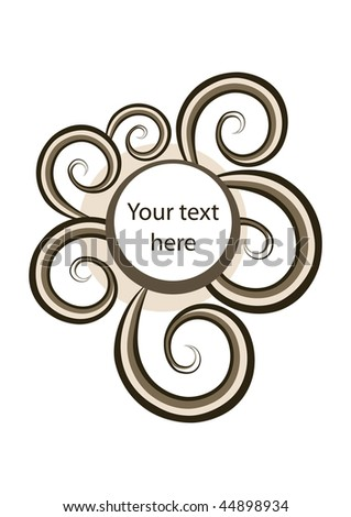 Round frame with trendy spirals in coffee tones, easy editable - stock vector