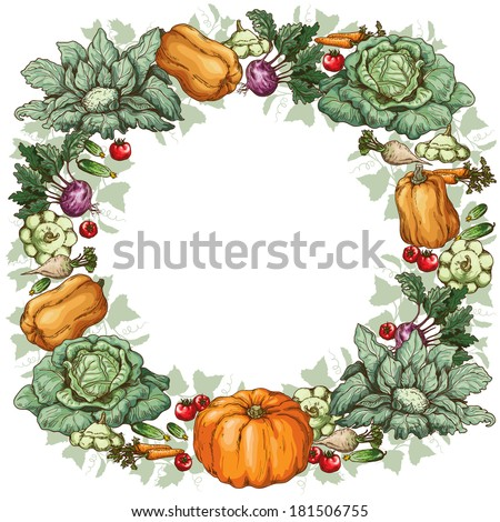 Round frame with various vegetables. - stock vector