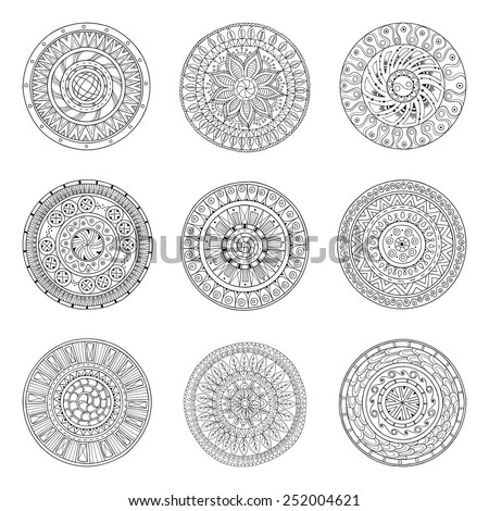 Round geometric ornaments set of had drawn doodle mandalas.Circle lace ornament, round ornamental geometric doily pattern collection. Black and white. - stock vector