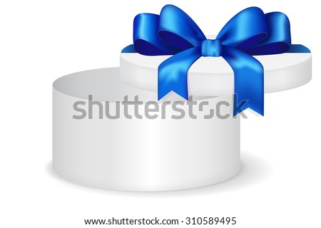 Round gift box with blue row. Open  Christmas gift for men. Vector isolated on white.