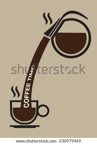 Round glass coffee pot pouring hot coffee into a cup on saucer with words Coffee Time on flow. Stylized vector illustration isolated on brown plain background. - stock vector