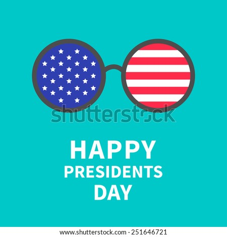 Round glasses with stars and strips.  Presidents Day background flat design Vector illustration - stock vector