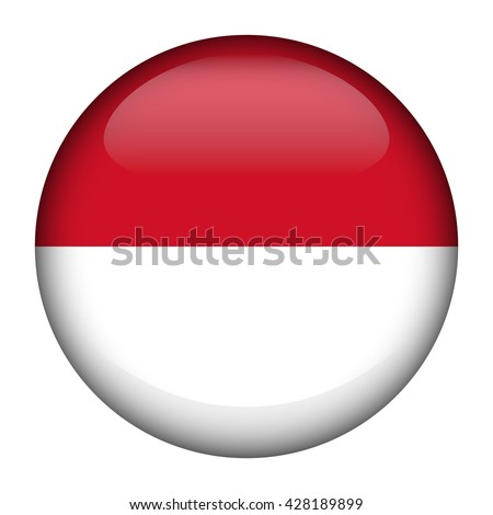 Round glossy Button with flag of Indonesia