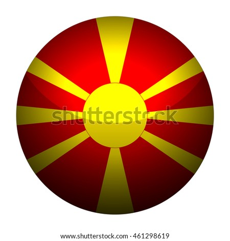 Round glossy Button with flag of Macedonia