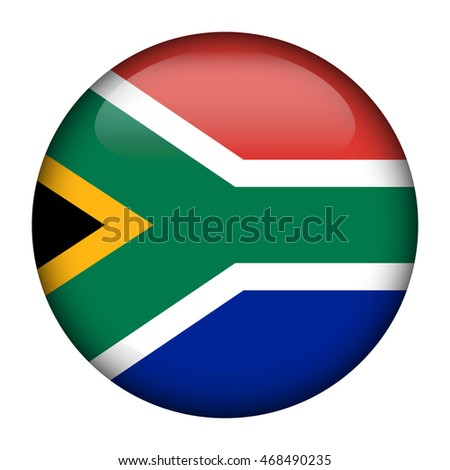 Round glossy Button with flag of South Africa