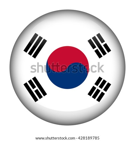 Round glossy Button with flag of South Korea