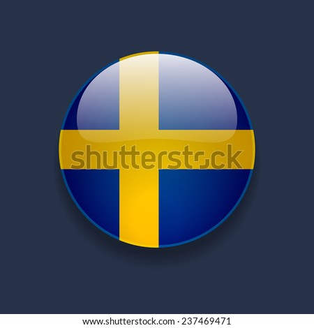 Round glossy icon with national flag of Sweden on dark blue background - stock vector